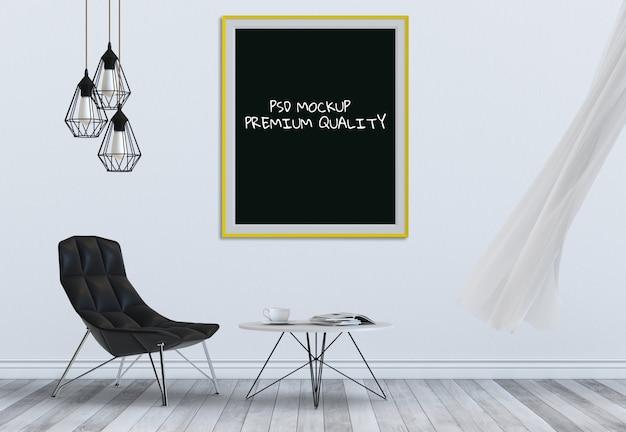 Cadre d'affichage maquette dans le salon intérieur et une chaise, rendu 3d
