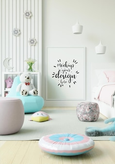 Cadre d'affiche dans la maquette de la chambre des enfants