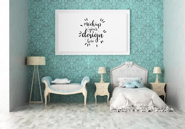 Cadre d'affiche dans une maquette de chambre