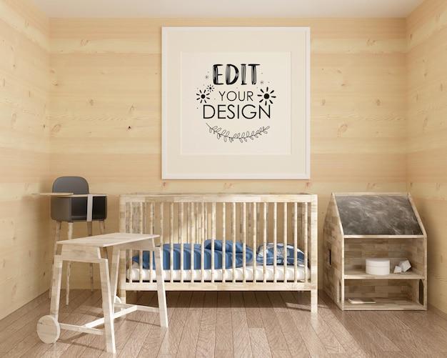 Cadre d'affiche dans la maquette de psd de la chambre d'enfants