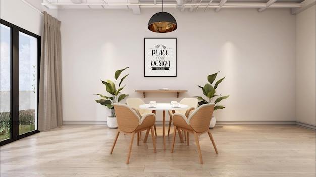 Cadre d'affiche dans la maquette de la salle à manger