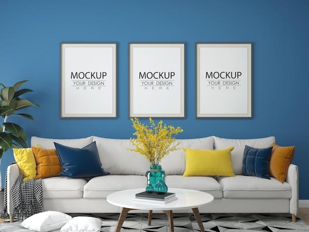 Cadre de l'affiche dans le salon maquette