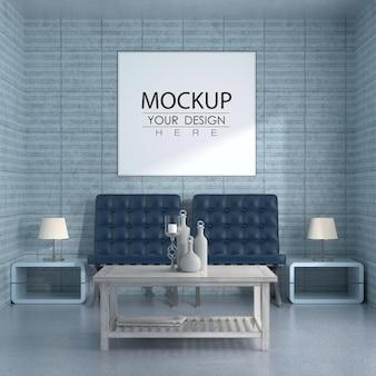 Cadre d'affiche dans le salon mockup psd