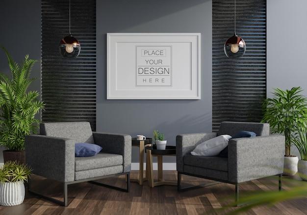 Cadre d'affiche dans le salon psd mockup