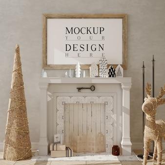 Cadre d'affiche de maquette avec arbre de noël et décoration