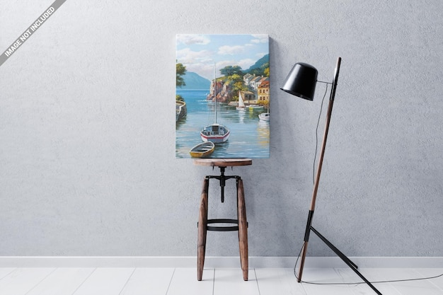 Cadre de l'affiche sur la maquette de la chaise en bois