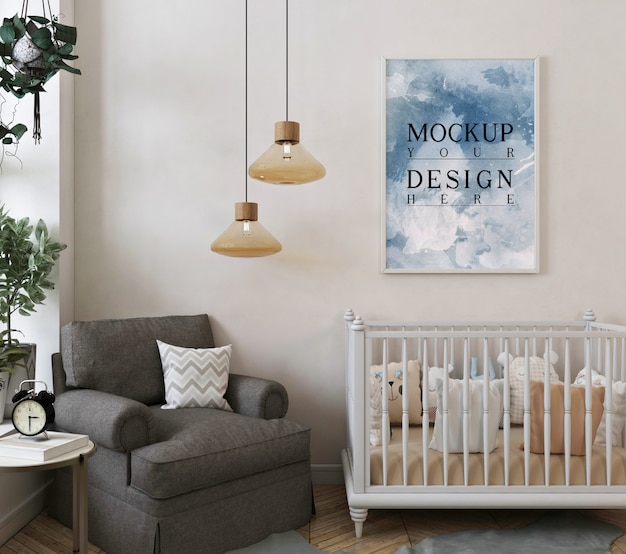 Cadre d'affiche de maquette dans la chambre de bébé classique moderne avec fauteuil