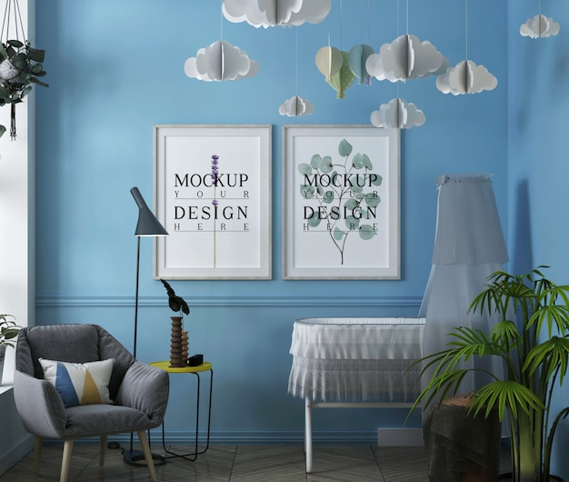 Cadre d'affiche de maquette dans la chambre de bébé contemporaine moderne avec fauteuil