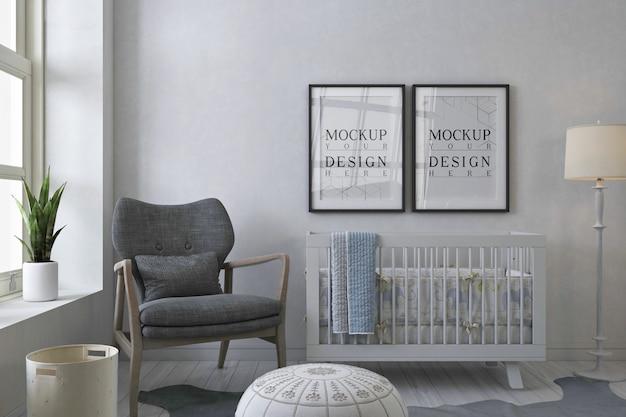Cadre d'affiche de maquette dans la chambre de bébé gris