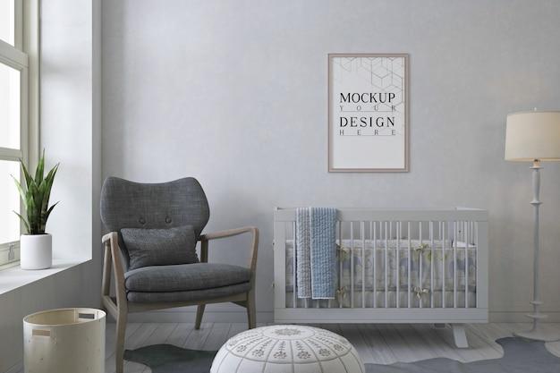 Cadre d'affiche de maquette dans la chambre de bébé monochrome moderne