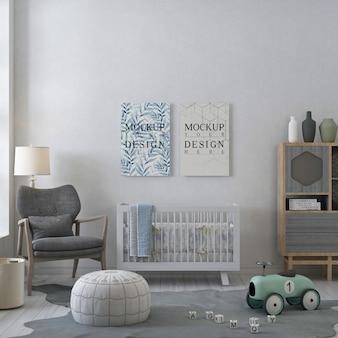 Cadre affiche maquette dans la chambre de bébé pastel blanc