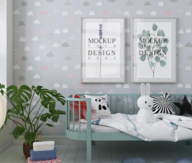 Cadre d'affiche de maquette dans la chambre d'enfant moderne