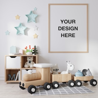 Cadre d'affiche de maquette dans la chambre des enfants