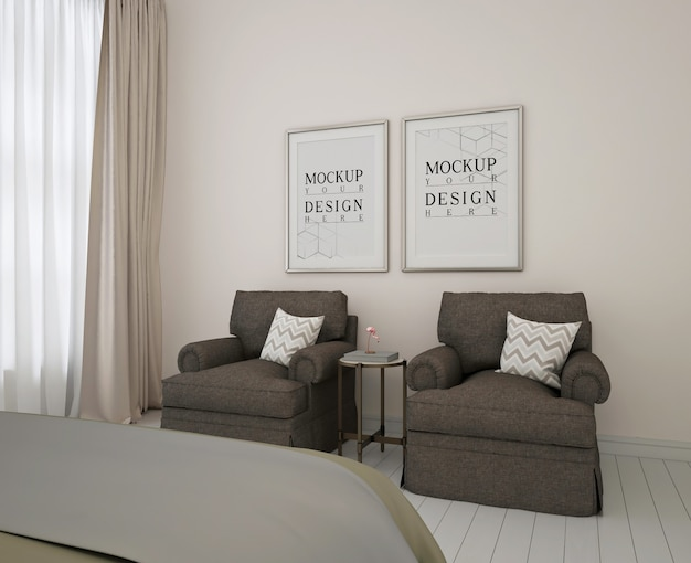 Cadre d'affiche de maquette dans la chambre moderne