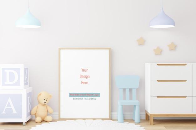 Cadre d'affiche de maquette dans la maquette de la chambre des enfants dans le rendu 3d