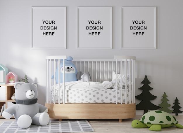 Cadre d'affiche de maquette dans le rendu de la chambre des enfants