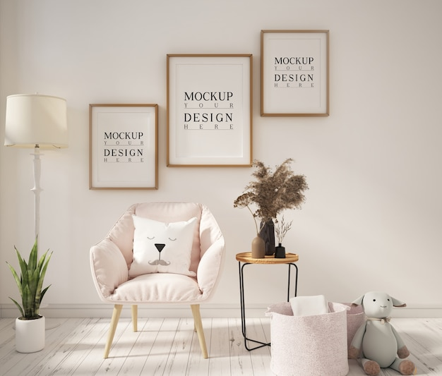 Cadre affiche maquette dans un salon moderne avec fauteuil