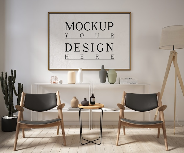 Cadre affiche maquette dans un salon moderne avec fauteuils