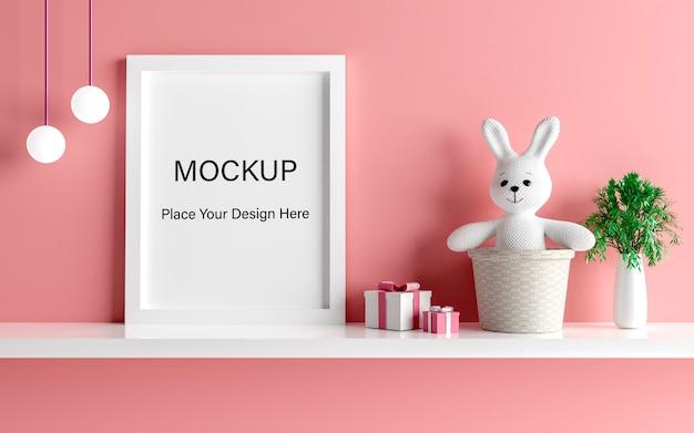 Cadre affiche maquette avec lapin mignon pour un rendu 3d de douche de bébé fille