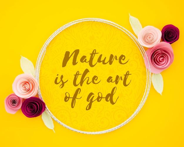 Cadre d'art floral avec message de motivation