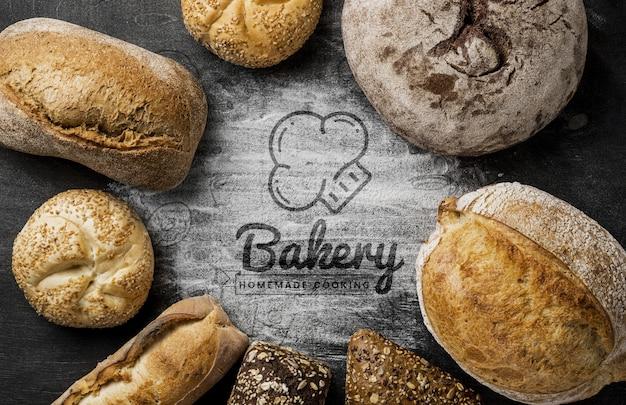 Cadre d'assortiments de pain frais