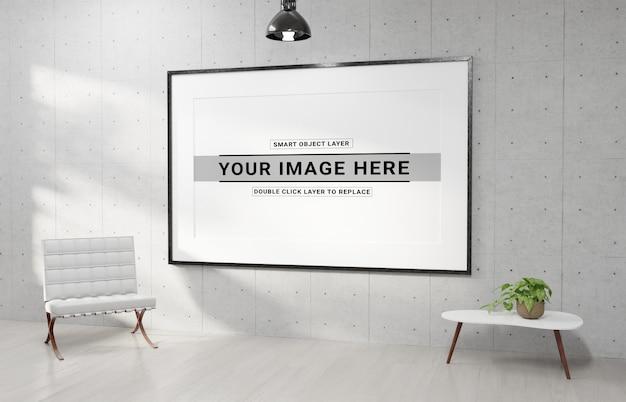 Cadre blanc horizontal suspendu dans une maquette d'intérieur moderne