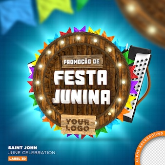 Cadre en bois sao joao festa junina, rendu 3d