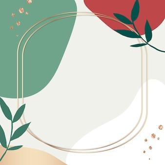 Cadre botanique de memphis psd avec des couleurs vertes et rouges
