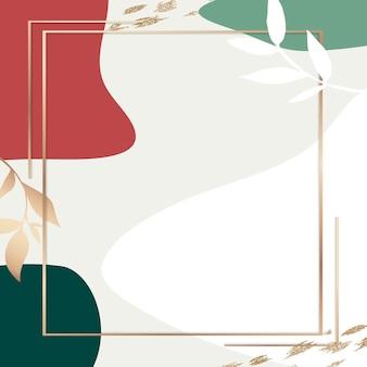 Cadre botanique psd sur fond de memphis couleurs rouge et vert