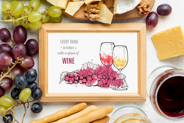 Cadre de bouteilles de vin avec cadre