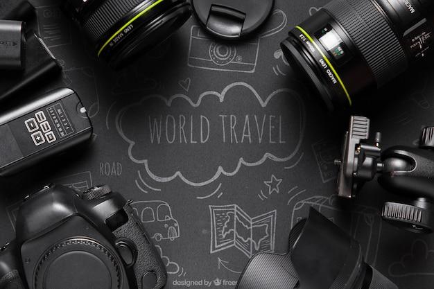 Cadre de caméras sur maquette de table