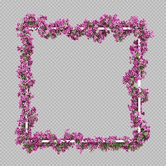 Cadre carré vide avec filtre aquarelle de bougainvilliers roses