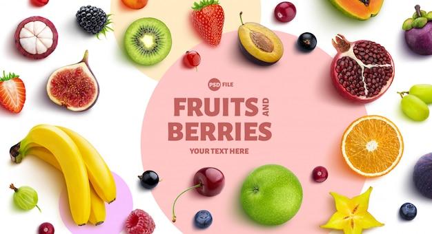 Cadre composé de fruits et de baies, vue de dessus, pose à plat