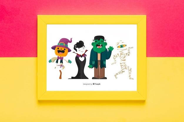 Cadre concept halloween avec des personnages
