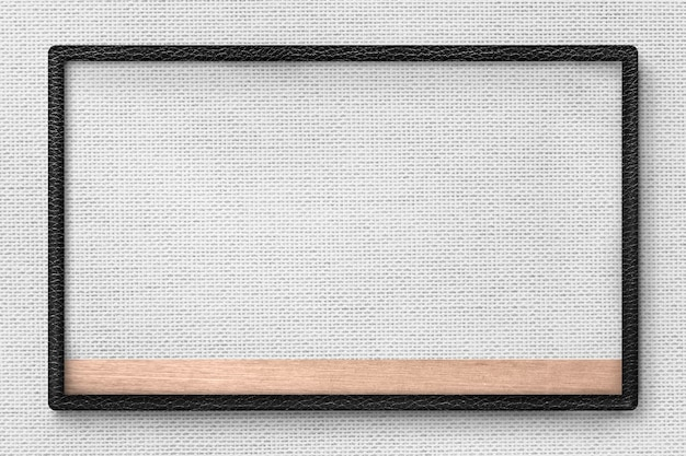 Cadre en cuir noir sur l'illustration de fond de texture de tissu gris