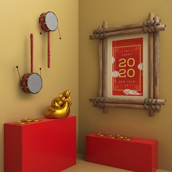 Cadre avec date du nouvel an sur le mur