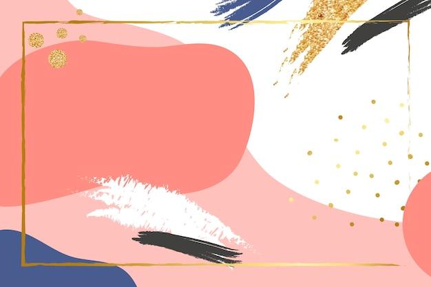 Cadre doré psd sur fond rose corail memphis