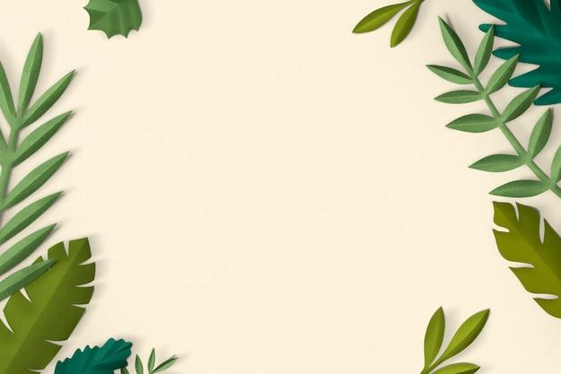 Cadre de feuille d'artisanat en papier psd dans le ton printanier