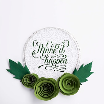 Cadre de fleurs artistiques avec citation positive