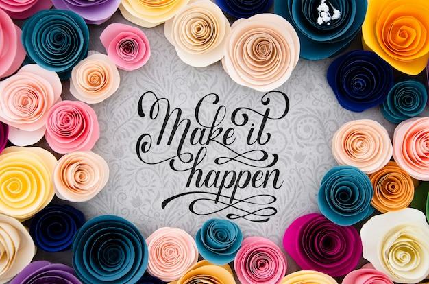 Cadre de fleurs colorées avec message