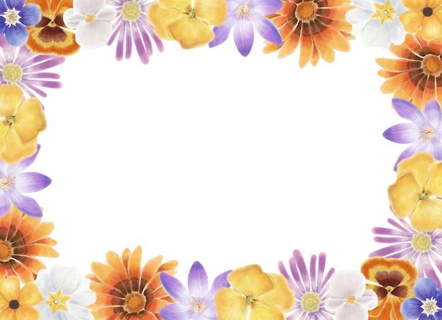 Cadre de fleurs de printemps aquarelle