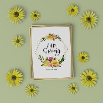 Cadre floral 3d avec carte de bonjour printemps