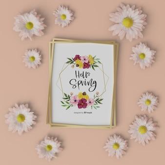 Cadre floral avec bonjour carte de printemps
