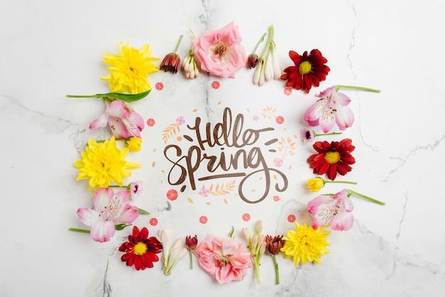 Cadre floral créatif bonjour printemps