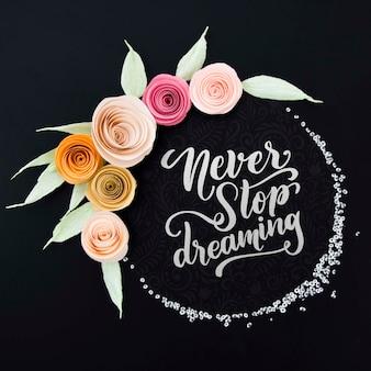 Cadre floral fleur avec message de motivation