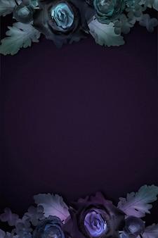 Cadre floral violet et bleu