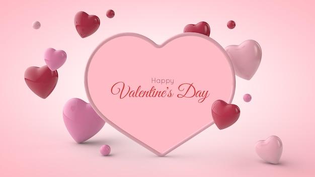 Cadre en forme de coeur avec des coeurs roses et rouges. carte postale de la saint-valentin. illustration 3d