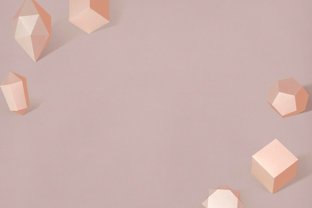 Cadre géométrique en papier bronze 3d
