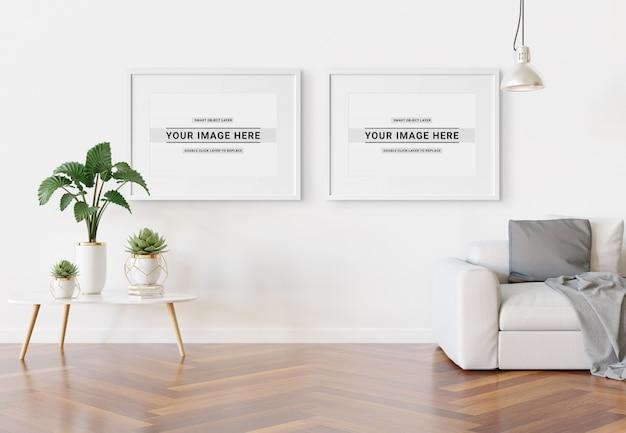Cadre horizontal suspendu dans un intérieur moderne