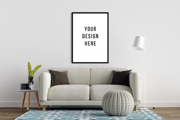 Cadre de maquette de poster avec canapé et décoration